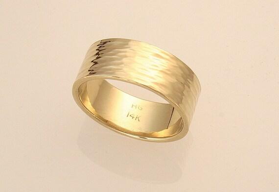 Bark hammered ring 14 k gold band