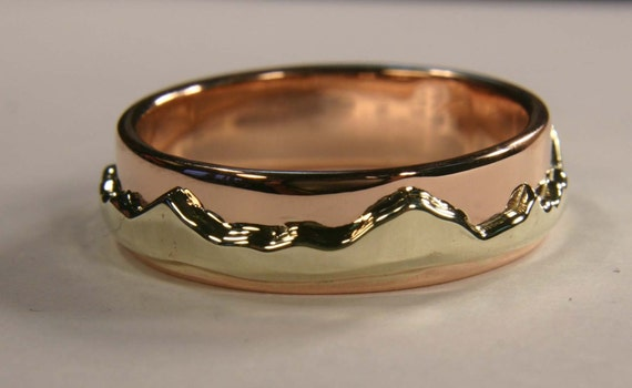 Eternal Mountain Range Ring, 14k Yellow and Rose Gold Wedding Band, For Her, Handmade in Maine