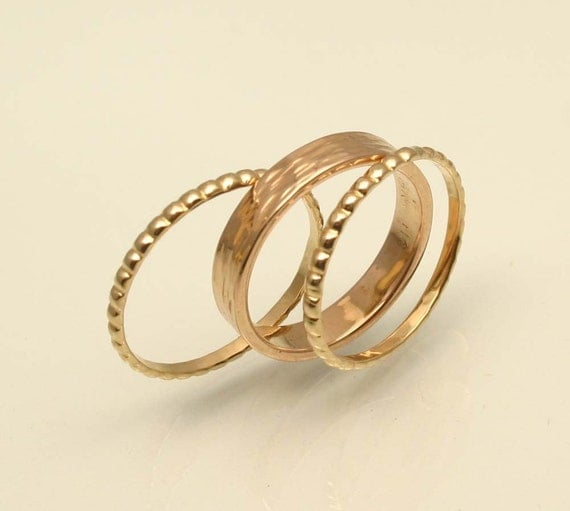 Textured Gold Stacking Ring Set, For Her, Handmade in Maine
