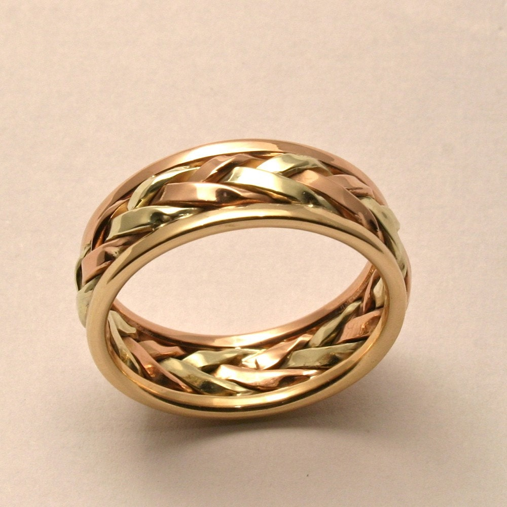 Braided in gold men 39 s large wedding band handmade in for Maine wedding bands