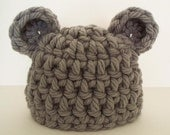 Chunky Little Mouse Baby Beanie - Grey Crochet Infant Newborn Hat - Photography Prop