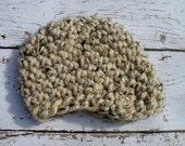 Newsboy Hat Newborn Hat Infant Hat Baby Hat Chunky Newsboy Hat Crochet Infant Hat -Oatmeal Tweed - Photography Prop