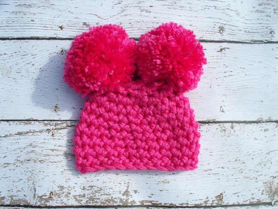 Baby Girl Hat Newborn Girl Hat Infant Girl Hat Crochet Pom Pom Hat - Hot Pink - Newborn - Photography Prop