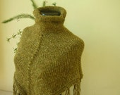 Olive Green Knit Poncho