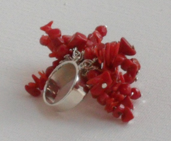 Coral Ring- Sterling Silver