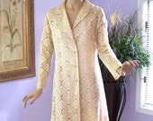 Vintage 60s Coat   Sheer Lace w Rhinestone Buttons Wedding Dinner Cocktail Party