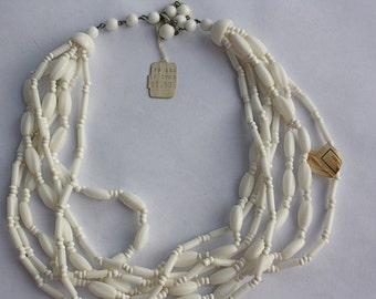Vintage 40s Necklace 7 Strand Milk Glass Bead Choker  W. Germany w 2 Original Tags