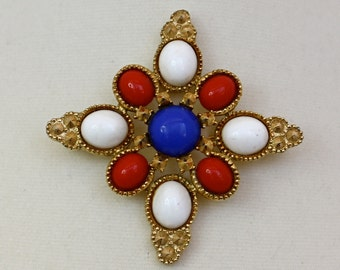 Vintage 60s Maltese Cross Brooch Sarah Cov Gold Pin w Red White Blue Cabochons