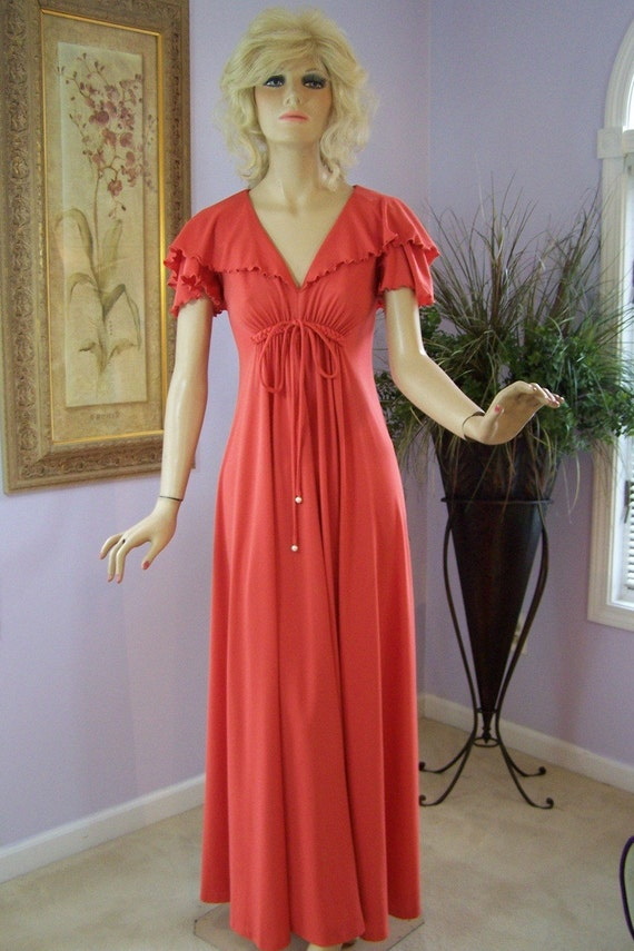 Vintage 60s Party Dress Sexy Deep V Slinky Goddess Maxi Dress