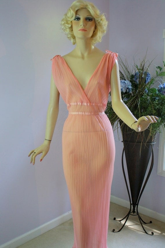 Vintage 50s NightGown Colura Coral Pink Grecian Goddess Sheer Deep Plunging Long Gown