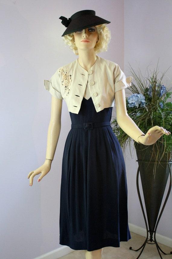 Vintage 40s Mademoiselle Juliette Dress Navy Rayon Crepe Linen Bolero Jacket w Cut  work Lace Rhinestones