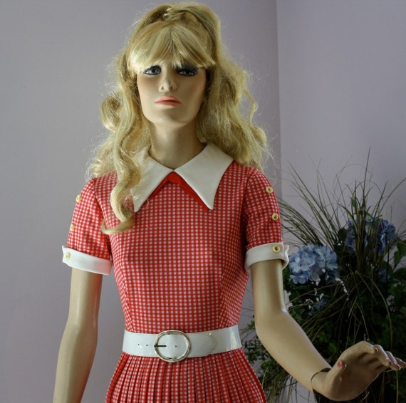 Vintage 60s Dress Sassy Red White Check School Girl Mini