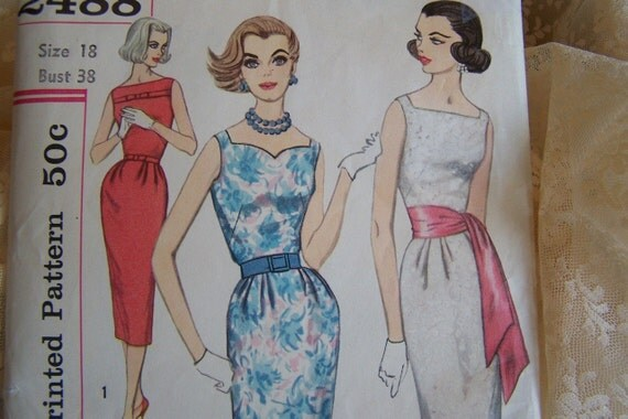 UnCut Vtg 50's Dinner Party Wiggle Dress Simplicity Pattern Size 18 Bust 38