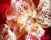 """Embellish La Belle Cream Lace Orchid Flower Clips """"Classic Pearls & Lace Collection"""""""