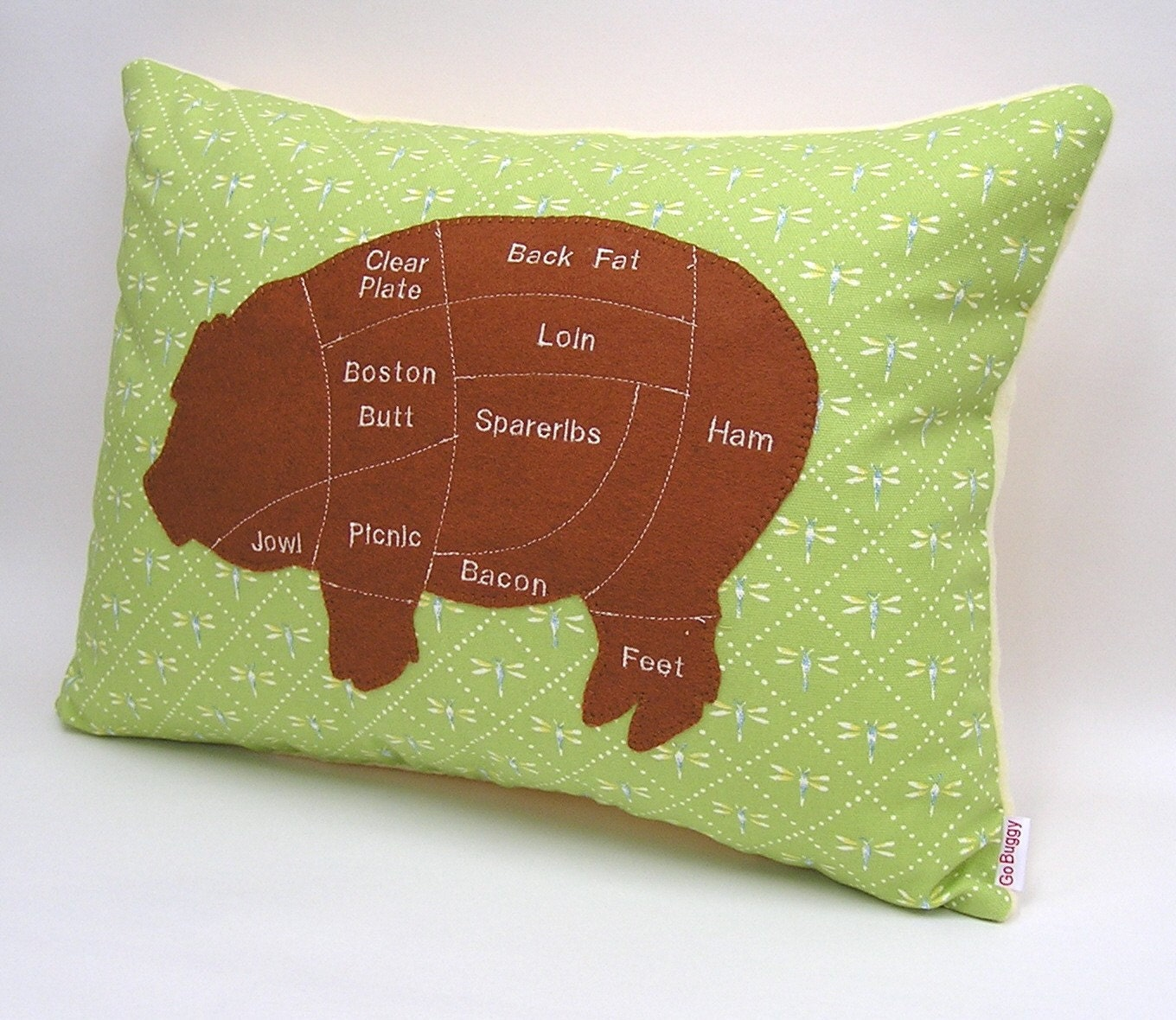 Pig Meat Chart Decorative Pillow Brown Baby Yellow