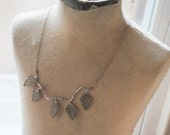 Lace Leaves on Silver Branch Necklace