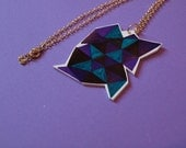 Purple Green Black Geometric Necklace - Triangular Necklace - Jewellery - Gift - Birthday Present - Handmade