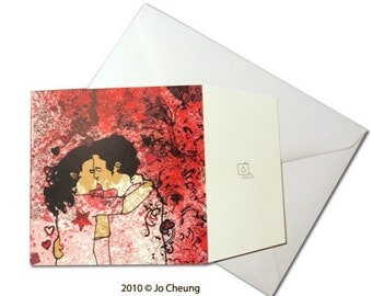 Sale: Kissing Couple Note Card - Paper Goods - Stationery - Valentine's Day - Wedding - Anniversary - Note Card for Girlfriend