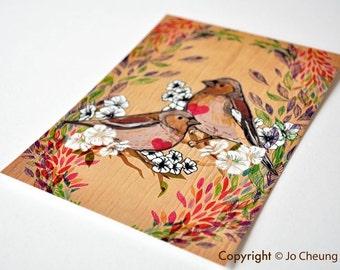 Two Little Birds Postcard - Bird Postcard -illustrated birds - Gift for Bird Lovers