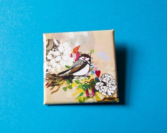 Little Bird Square Badge- Accessories - Small Gift - Gift for All