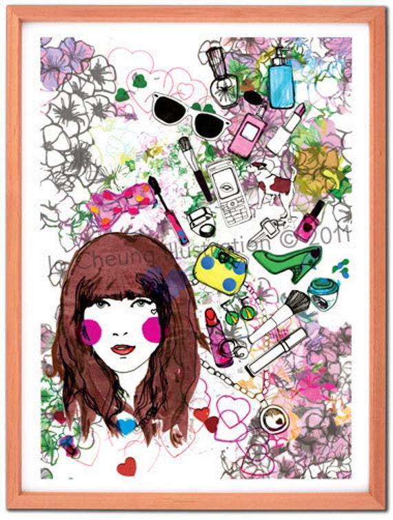 Floral Girl Fine Art Print - Art for Young Teen Girls - Wall Art - Make Up Artwork- A4 A3 Print