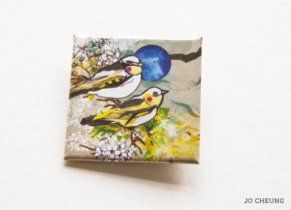 Little Yellow Bird Square Badge - Accessories -Small Gift- Gift for All - Yellow Bird Badge - Birthday Gift