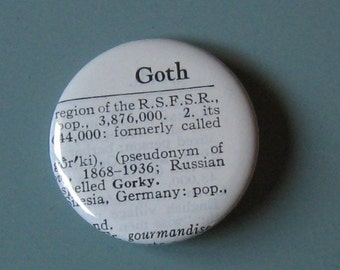 Goth Vintage Dictionary Pin