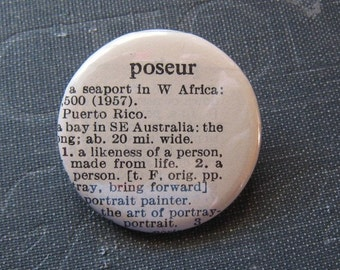 Poseur Vintage Dictonary Pin