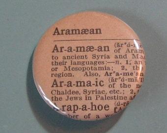 Aramaean Vintage Dictionary Pin