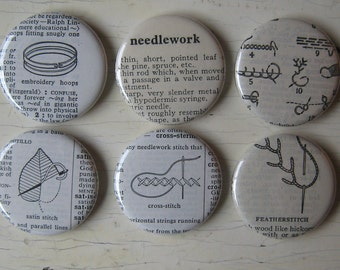 Embroidery Vintage Dictionary Illustration Magnet Set of 6
