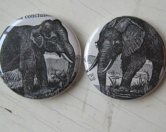 Indian and African Elephant Vintage Dictionary Magnet Set of 2