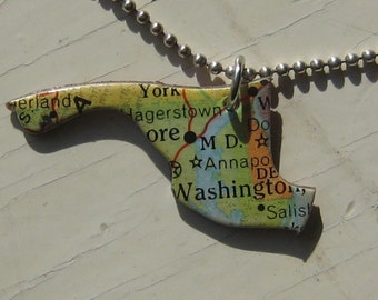 Maryland and Delaware Vintage Puzzle Pendant