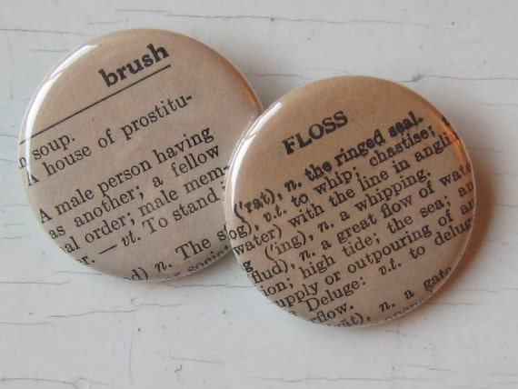 Brush and Floss Vintage Dictionary Pin Set of 2