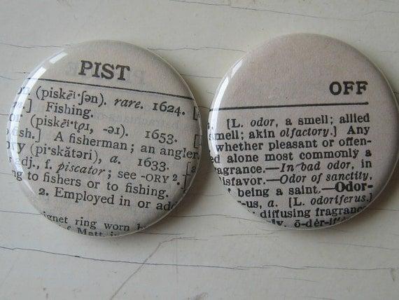 Pist Off vintage Dictionary Magnet Set of 2