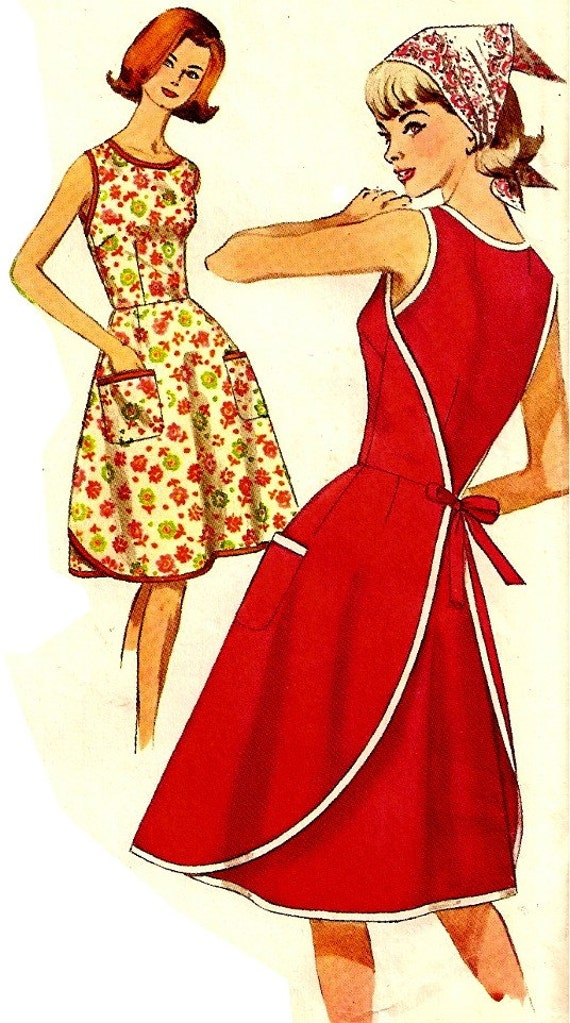 Vintage Wrap Apron Dress Sewing Pattern Simplicity By