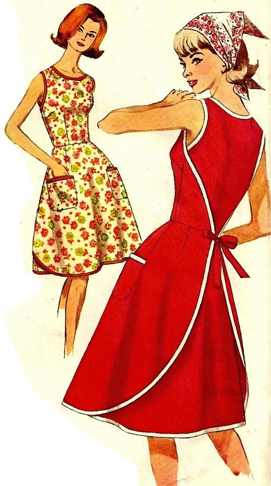 Vintage Wrap Apron Dress Sewing Pattern Simplicity 5449