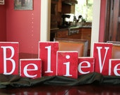 Christmas BELIEVE blocks, Christmas sign, wood letters BELIEVE, shabby chic letters