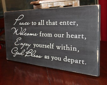 Welcome Sign, Black and White sign, God Bless Sign