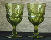 Vintage Fostoria Argus Henry Ford Goblet in Green -Set of Two-