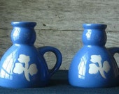 Vintage Blue Candle Stick Holders (Set of 2)