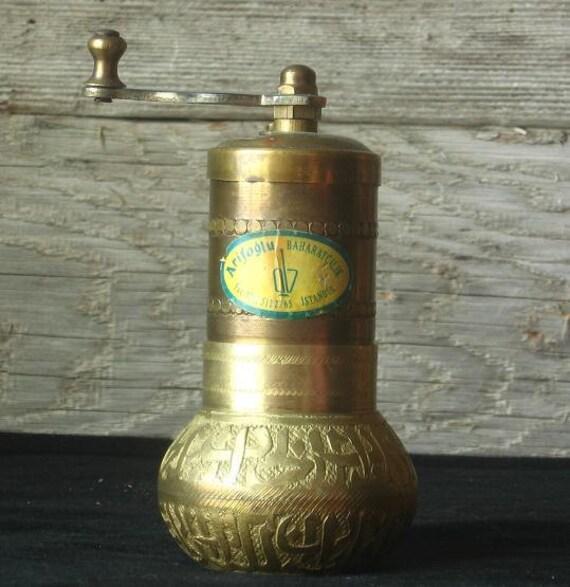 Vintage Brass Turkish Pepper Mill