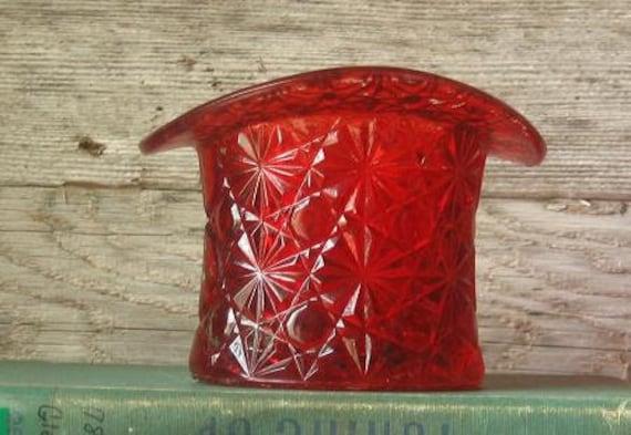 Vintage Fenton Red Glass Hat