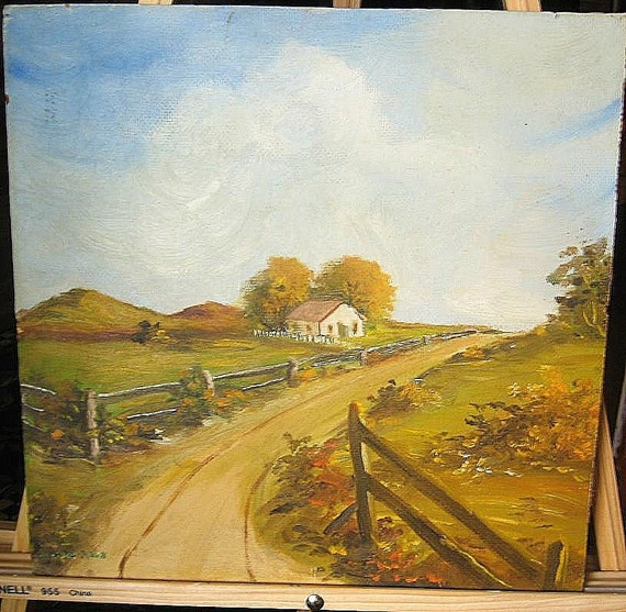80 years plus- Very Old Vintage Country  Oil Painting