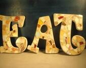 Earth Tone EAT Mosaic Letters E A T