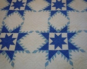 Wonderful Vintage Olde Kentucky Quilt In Blue and White