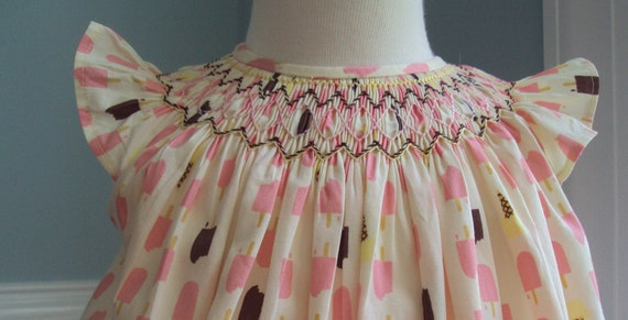 Hand Smocked Bishop Dress / Ice Cream Print  size 6 months , ready to ship
