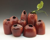 Slashed Blood Red Ceramic Table Sculptures/Vases - Set of 8