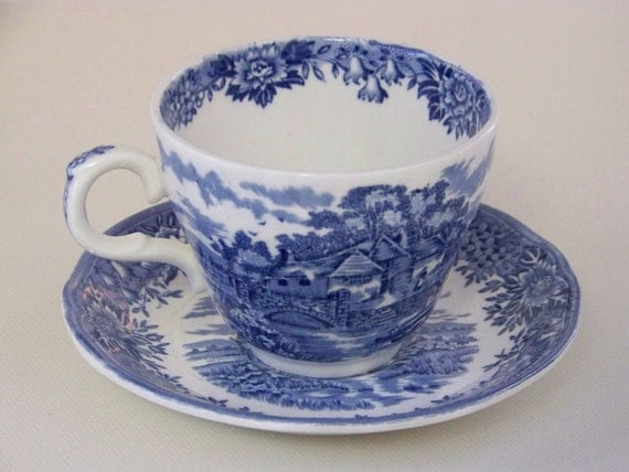 Staffordshire Blue and White Teacup and Saucer England