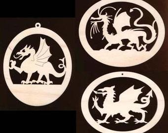 Dragon/Griffin Ornament Assortment Natural Craft Wood 950