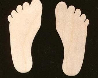 Feet Foot  Footprints Unfinished Craft Wood Cutout 1445